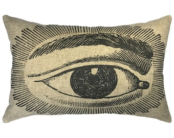 Eye Throw Pillow, Zodiac Linen Lumbar Pillow, Industrial