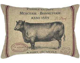 French Cow Throw Pillow, Modern Farmhouse Linen Lumbar Pillow