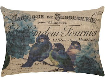 French Blue Birds Burlap Pillow, French Lumbar Pillow, Country Farmhouse, 18x12