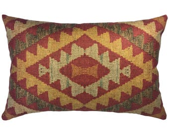 Geometric Red Throw Pillow, Linen Lumbar Pillow, Worldly