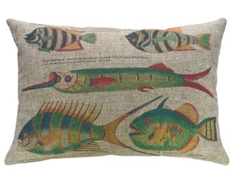 Fish Throw Pillow, Linen Lumbar Pillow, Nautical