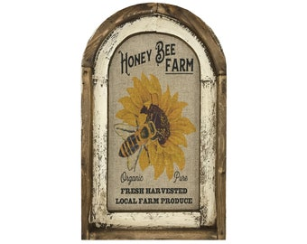 "Honey Bee Wall Art | Arch Window Frame | Linen Wall Hanging | Rustic Farmhouse Decor | 14"" x 22"""