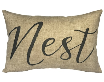 Nest Typography Throw Pillow, Linen Lumbar Pillow