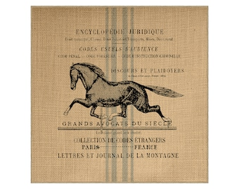 Horse Grainsack Burlap Panel, Reproduction Printed Fabric