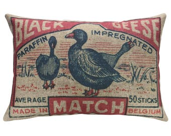 Geese Throw Pillow, Linen Lumbar Pillow
