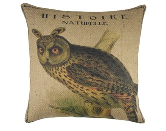 Owl Pillow, Burlap Throw Pillow, Cabin Rustic, Shabby Chic