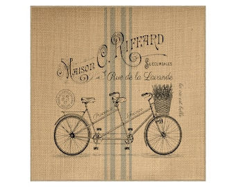 Bike Grainsack Burlap Panel, Reproduction Printed Fabric