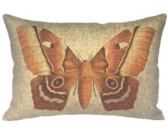 Moth Throw Pillow, Rustic Linen Lumbar Pillow, Cottage