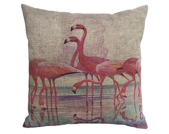"Pink Flamingos Linen Throw Pillow 15"" x 15"""