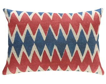 Blue And Red Geometric Throw Pillow, Linen Lumbar Pillow, Worldly