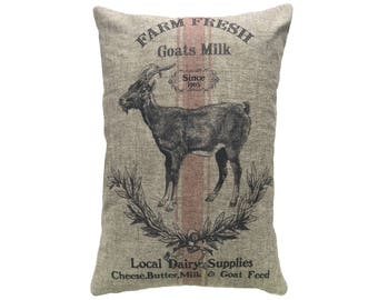 Goat Throw Pillow, Cottage Linen Lumbar Pillow, Rustic