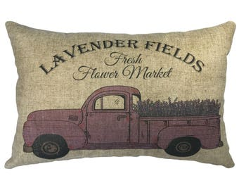 Lavender Truck Throw Pillow, Linen Lumbar Pillow, French