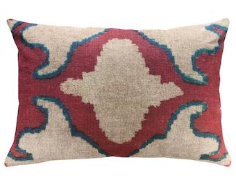 Blue And Red Ikat Throw Pillow, Linen Lumbar Pillow, Worldly