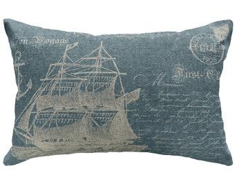Nautical Ship Throw Pillow, Blue Typography, Linen Lumbar Pillow