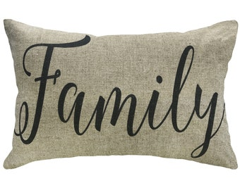 Family Typography Throw Pillow, Linen Lumbar Pillow