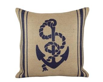 Anchor Burlap Pillow Cover, Nautical Navy Cushion, Beach Pillow Cover, Coastal