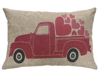 Valentines Day Truck Throw Pillow, Linen Lumbar Pillow, Hearts