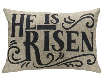 He Is Risen Typography Throw Pillow, Easter Linen Lumbar Pillow