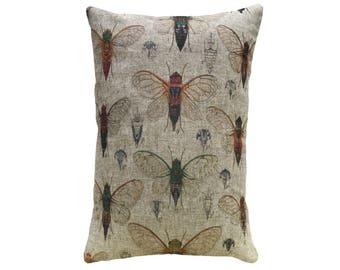 Bugs Throw Pillow, Rustic Linen Lumbar Pillow, Cottage