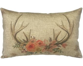 Horns Floral Throw Pillow, Linen Lumbar Pillow, Cottage