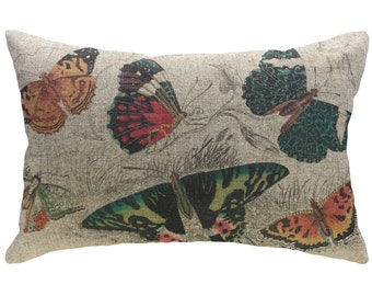 Butterflies Throw Pillow, Rustic Linen Lumbar Pillow, Cottage