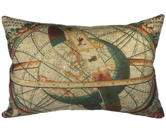 Map Throw Pillow, Zodiac Linen Lumbar Pillow, Industrial