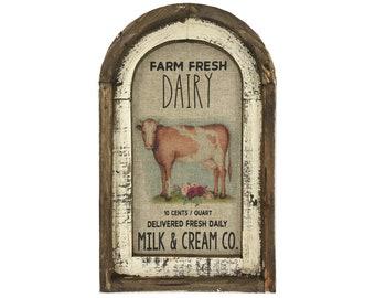 "Dairy Farm Wall Art | 14"" x 22"" | Arch Window Frame | Linen Wall Hanging | Rustic Farmhouse Decor |"