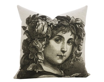 Face Pillow, Girl Throw Pillow, Linen TheWatsonShop