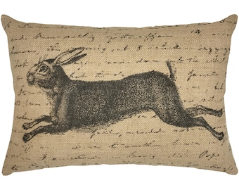 Rabbit Burlap Pillow, Grainsack Lumbar Pillow, Country Farmhouse, 18x12