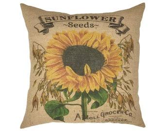 "Sunflower Seeds Burlap Pillow I 18"" x 18"" French Farmhouse Pillow I Grain Sack Pillow"