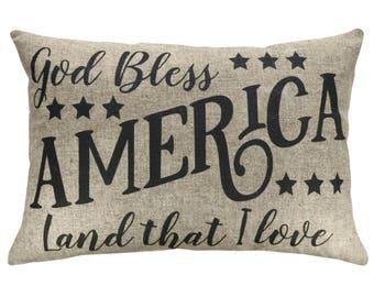 God Bless America Typography Throw Pillow, Linen Lumbar Pillow