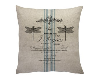 Dragonfly Grain Sack Throw Pillow, Linen Pillow, Cottage Chic