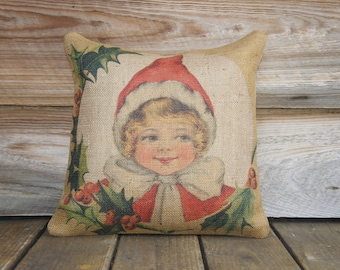 Christmas Pillow, Throw Pillow, Cottage Decor, Burlap Pillow, Red, Holly