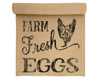 Burlap Table Runner, Farm Fresh Eggs Burlap Runner, Farmhouse Table Linens, TheWatsonShop