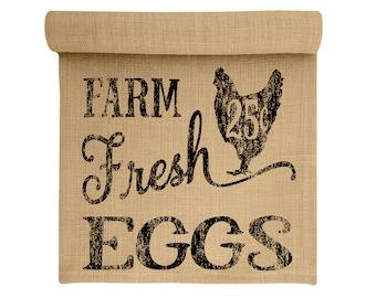 Burlap Table Runner, Farm Fresh Eggs Burlap Runner, Farmhouse Table Linens, TheWatsonShop
