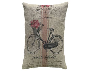 Bike Throw Pillow, Linen Lumbar Pillow, Cottage