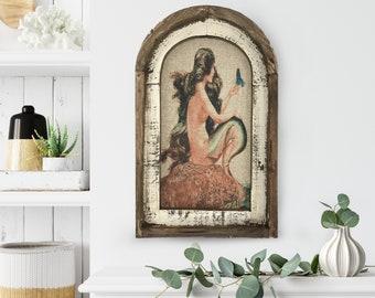 "Mermaid Wall Art | 14"" x 22"" | Arch Window Frame | Linen Wall Hanging | Coastal Decor |"