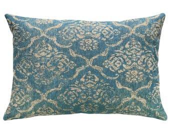 Blue Damask Throw Pillow, Linen Lumbar Pillow, Worldly