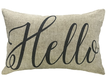 Hello Typography Throw Pillow, Linen Lumbar Pillow