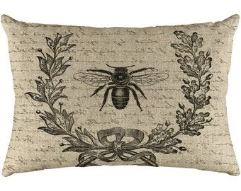 Bee Throw Pillow, Shabby Chic Linen Lumbar Pillow, Wreath