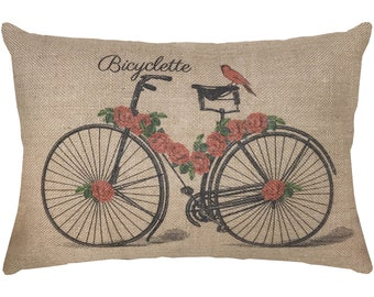 French Bicycle Burlap Pillow, French Lumbar Pillow, Country Farmhouse, 18x12