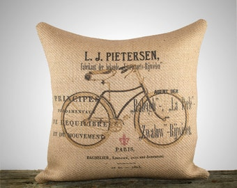 Decorative Throw Pillow Cover, French Bicycle Burlap Pillow, Cushion Cover, Shabby Chic, Rustic, 16""