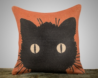 Black Cat Pillow, Halloween Decoration, Orange Burlap Throw Pillow, Decorative Pillow, Fall, Cottage Chic, Rustic, Farmhouse