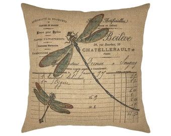 "Dragonfly Burlap Pillow I 18"" x 18"" Country Farmhouse Pillow I Grain Sack"