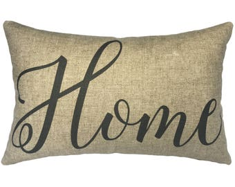 Home Typography Throw Pillow, Linen Lumbar Pillow