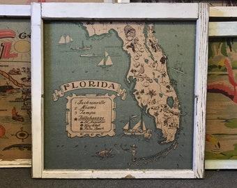 "Florida Map Wall Art | Antique Window Frame Decor | Burlap Wall Hanging | 32""x32"""