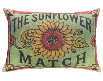 Sunflower Throw Pillow, Linen Lumbar Pillow