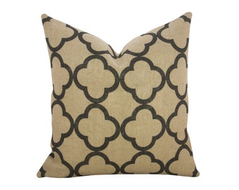 Quatrefoil Burlap Pillow, Industrial Decor, Black
