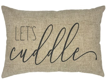 Let's Cuddle Throw Pillow, Modern Farmhouse Linen Lumbar Pillow, Typography