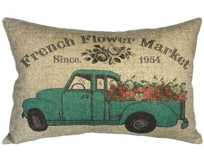 Featured listing image: Floral Truck Throw Pillow, Linen Lumbar Pillow, French